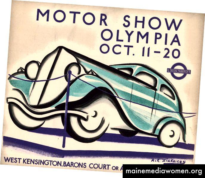 MotorShow, Olympia, 11. – 20. Oktober, von Anna Katrina Zinkeisen, 1934 | Mit freundlicher Genehmigung des London Transport Museum