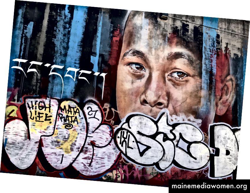 Detail des Bushwick Collective Wandgemäldes, inspiriert vom Künstler Matt Adnate. Das Wandbild wurde von vielen Bomber zerstört. Foto von Natasha Rodriguez.