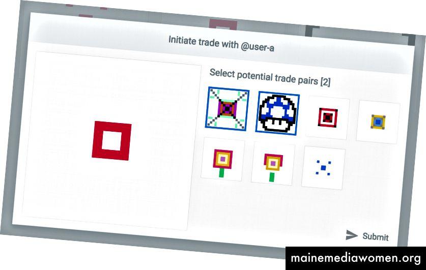 Benutzer B initiiert einen Handel mit Benutzer A für den Roten Platz und bietet zwei ihrer Glyphen an, die sie bereit ist, im Handel zu verlieren