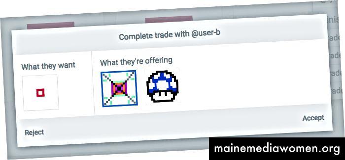 Benutzer A kann dieses Handelsangebot von Benutzer B entweder annehmen oder ablehnen. Er wird es natürlich annehmen