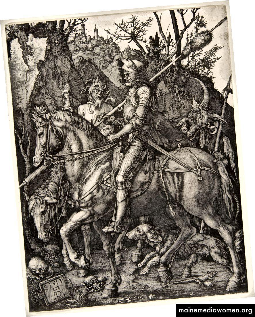 Ritter, Tod und der Teufel. Stich von Albrecht Dürer, 1513.