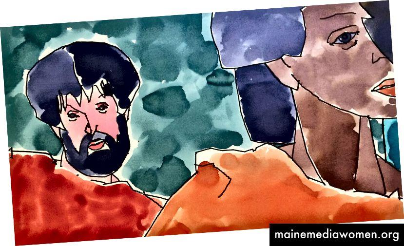 Ausschnitt aus dem ersten Bild, das 1995 von der farbaktivierten Version von AARON im Computermuseum erstellt wurde. Sammlung des Computer History Museum, 102741168.