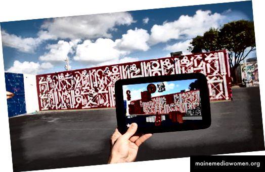 публичното изкуство ще стане интерактивно, цифровото преживяване може да бъде толкова оскъдно, колкото и физическото - заслуга на художника Ретна и Крис Нунес от Heavy Projects за тази инсталация в Wynwood Walls в Маями
