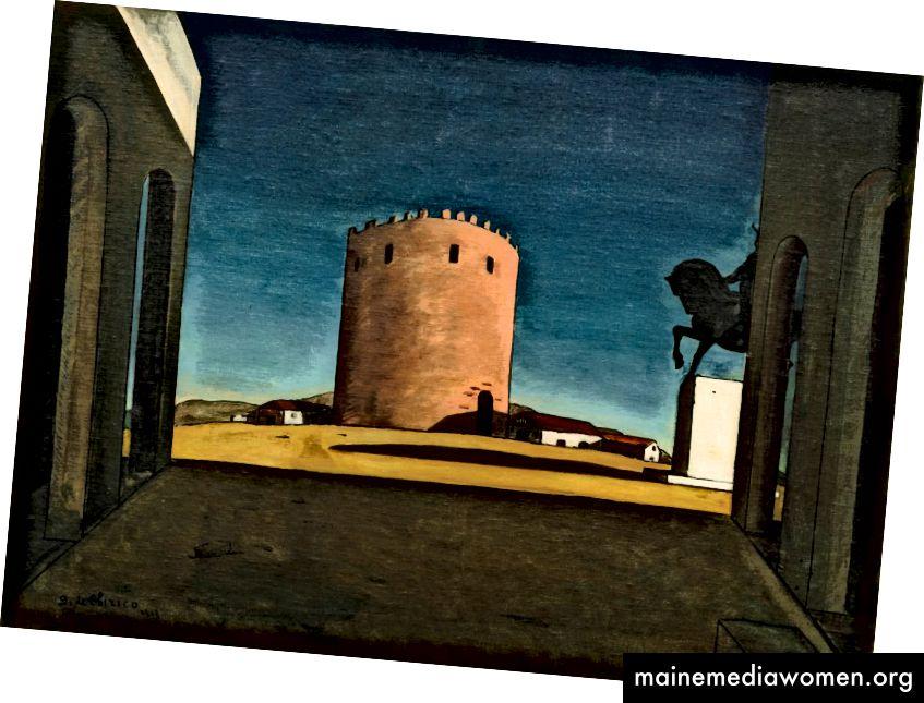 "Giorgio De Chirico - ""Der Rote Turm"" / ""La Tour Rouge"" (1913) - Öl auf Leinwand (73,5 x 100,5 cm) Sammlung Peggy Guggenheim der Solomon R. Guggenheim-Stiftung, Venedig, 1976 © 2017 Artists Rights Society (ARS), New York / SIAE, Rom"