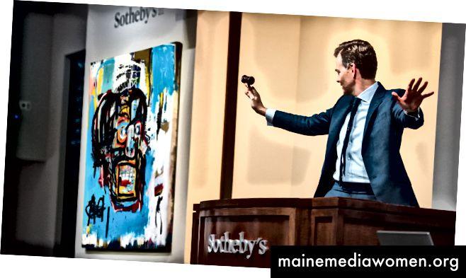 Eine Auktion bei Sotheby's, bei der das Schädelbild von Jean-Michel Basquiat für einen Rekord von 110,5 Mio. USD bei einer Auktion verkauft wurde (theguardian.com)
