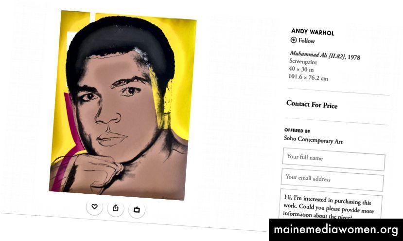 Ein Screenshot eines Angebots von artsy.net für ein Andy Warhol-Kunstwerk von Soho Contemporary Art