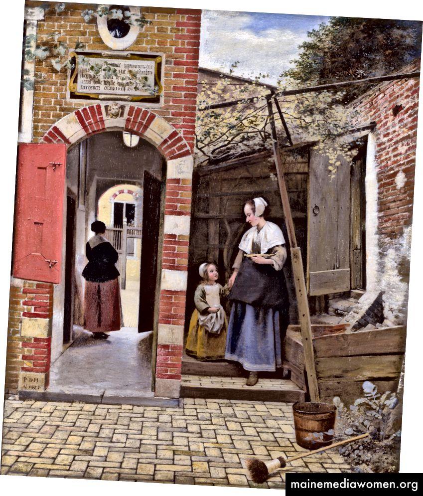 5. Hommage an das Aufräumen. Pieter de Hooch - Der Hof eines Hauses in Delft 1658.