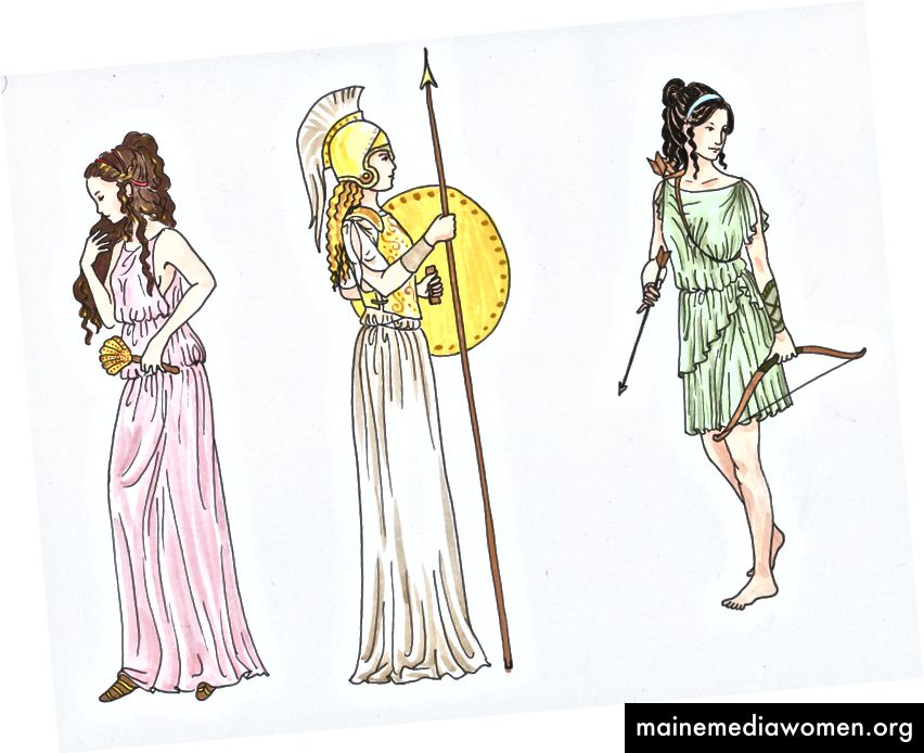 Die drei jungfräulichen Göttinnen: Hestia, Athena und Artemis. Dank an den talentierten Künstler 455992