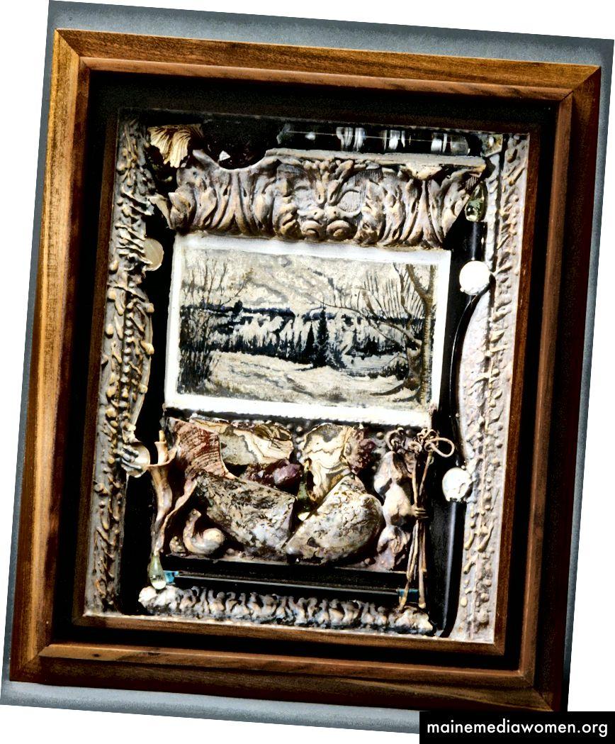 """Joseph Ascrizzi """"Winter of Just So"""" (14 x 16 1–2 x 3 3–4) - 1995. Gouachemalerei auf Gipskartonplatte, Ebenholz und Perlmutt, Muschel- und Amethystkristalle, Weinreben, Glas und Gesso, Walnuss."""