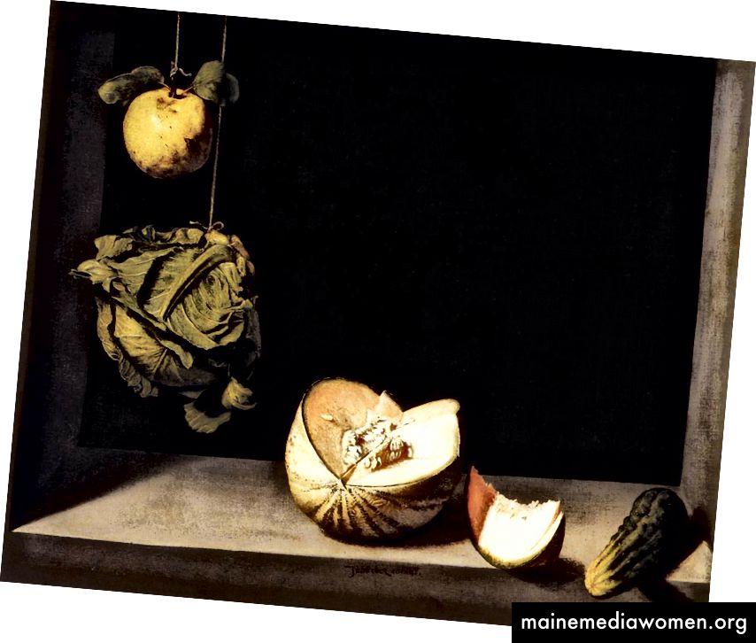 Die Schwärze geht zurück. (Juan Sánchez Cotán: Quitte, Kohl, Melone und Gurke, 1602)
