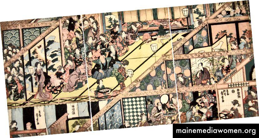 Die Japaner, die ab dem 8. Jahrhundert damit begannen, die chinesische Kultur zu assimilieren, wurden Meister im Gebrauch der Axonometrie, nicht nur als Werkzeug zur Darstellung des Raumes, sondern auch als Werkzeug zur Komposition.