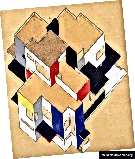 De Stijls Beispiel für moderne Architektur aus maschinell hergestellten Materialien.