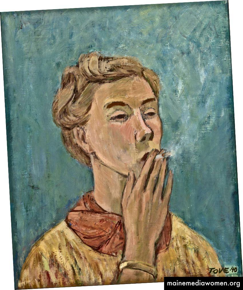 Tove Jansson, Rauchendes Mädchen (Selbstporträt), 1940 | Privatsammlung. Foto: Finnische Nationalgalerie / Yehia Eweis. © Moomin Charaktere