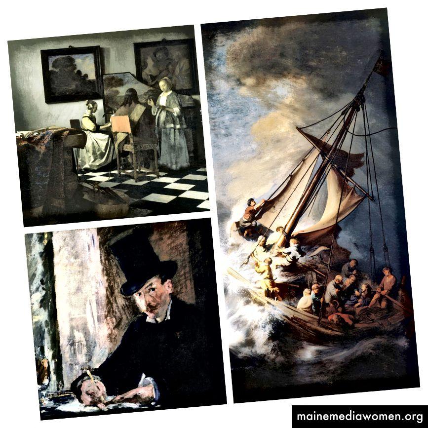 Vermisst: Das Konzert von Vermeer, Chez Tortoni von Manet und Der Sturm auf dem See Genezareth von Rembrandt (bemerkenswert als seine einzige Seestück…)