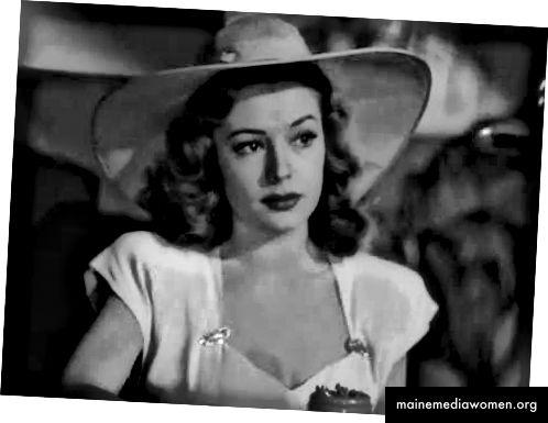 Kathie Moffatt im Stadium 1 ihrer Entwicklung als Femme Fatale: das Stadium der Unschuld. Das weiße Garderobenmotiv ist deutlich zu erkennen, aber auch Musuracas sanfter Schatten um sie herum. Dies unterstreicht ihre traum- oder kahlköpfigen Qualitäten.