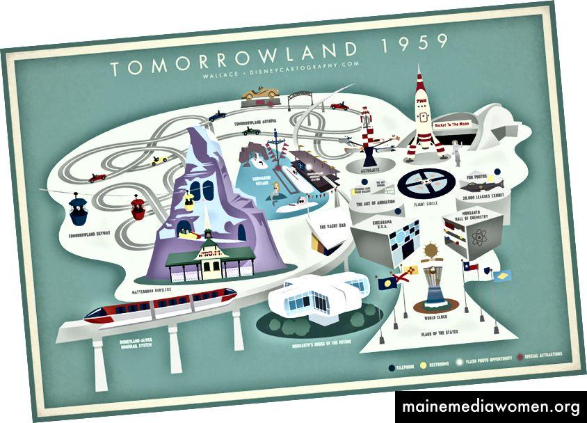 1959 Werbeplakat für Tomorrowland. Zum größten Teil leben wir in dieser Zukunft (siehe unten).