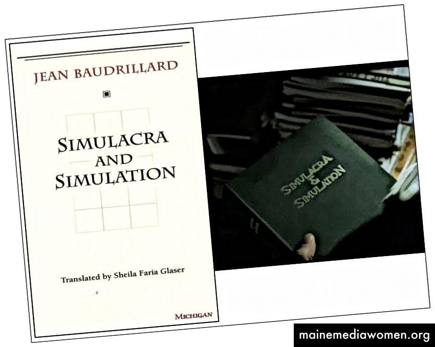 Ja, Baudrillards Buch (links) befindet sich in Neos Bibliothek in der Matrix (rechts).