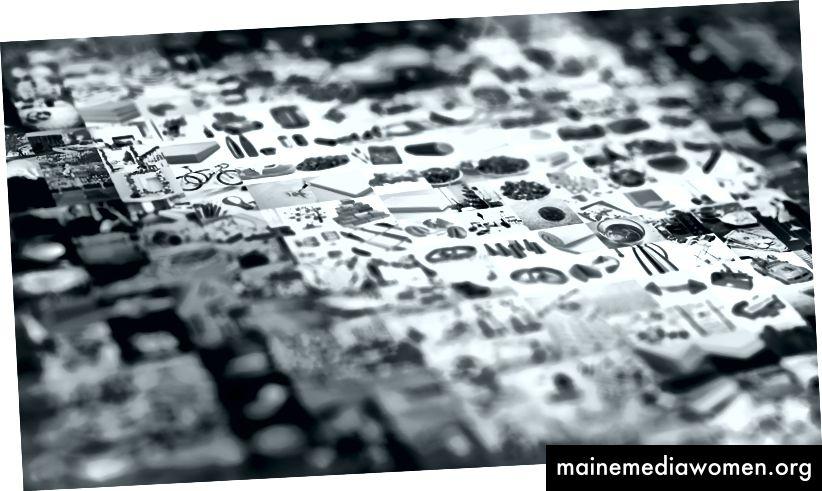 Der Kunstdruck ist ein Mosaik aus vielen Bildern