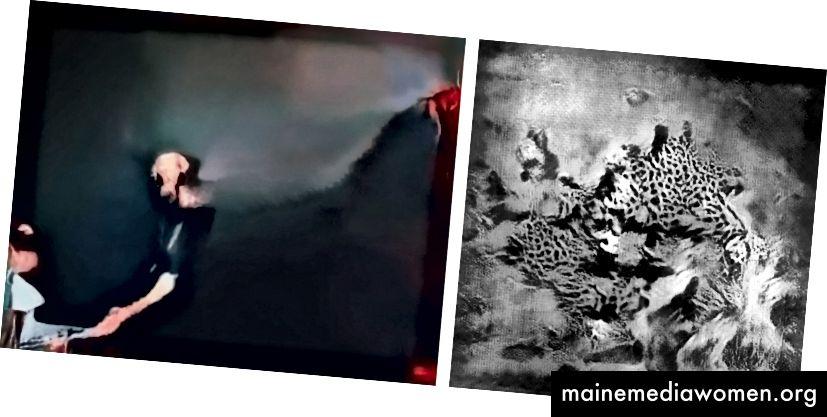 Links: Trevor Paglen. Ein Mann (Corpus: The Humans) hat die Halluzination konträr weiterentwickelt Rechts: Sascha Pohflepp. Weltraumspaziergang: Fleischfresser 3, Generation 320.