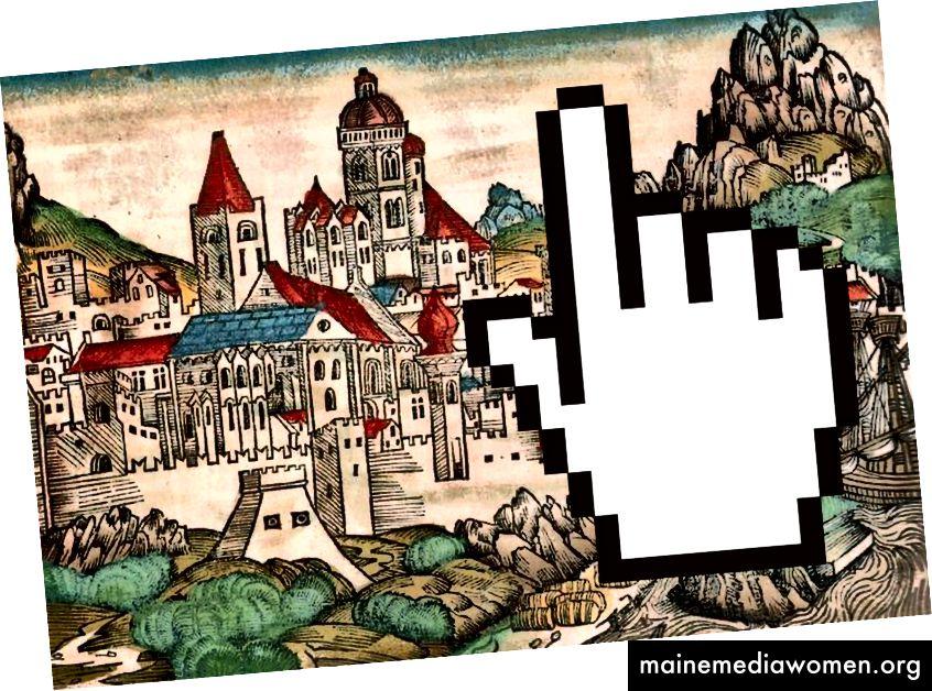 """Bildhintergrund: """"Mainzer Holzschnitt aus der Nürnberger Chronik"""", Wikimedia Commons."""