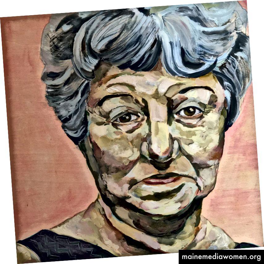 Peggy Guggenheim, 1898-1979. Öl auf Birkenholz, 30 x 30 cm, 2015