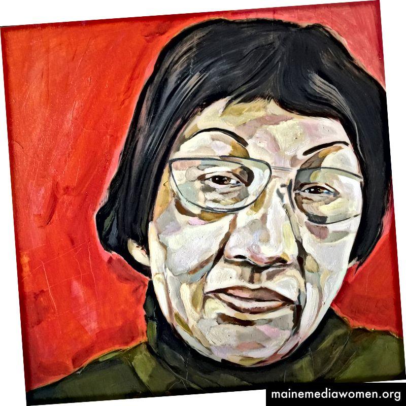 Pan Yuliang, 1895–1977. Öl auf Birkenholz, 16 x 16