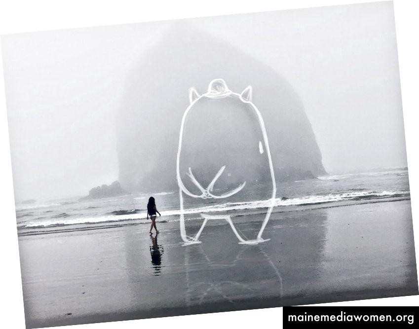 Mimi fügt Zeichnungen zu ihrer Fotografie für eine Serie hinzu, die sie