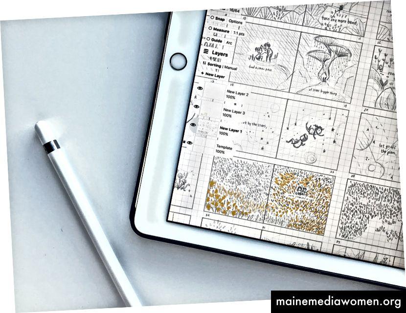 Eine Nahaufnahme von Mimis Storyboard in Concepts. Sie findet das unendliche Canvas- und Vektorsystem in dieser Phase ihres Prozesses besonders hilfreich.