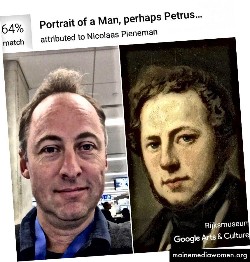 Mit der Arts & Culture-App von Google erhält der Kunstkritiker Sebastian Smee eine 64-prozentige Übereinstimmung mit einem Porträt, das Nicolaas Pieneman im Amsterdamer Rijksmuseum zugeschrieben wird. (Sebastian Smee / Google Arts & Culture)