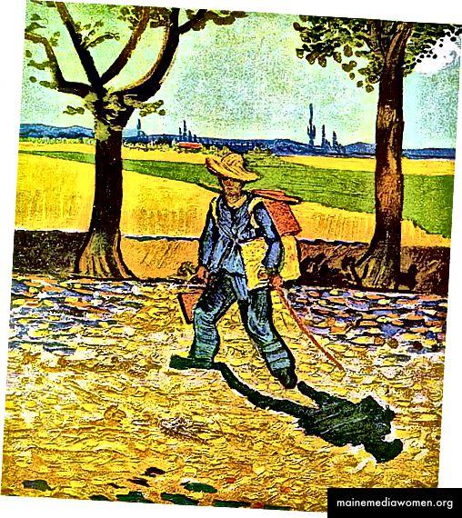 Der Maler auf seinem Weg zur Arbeit, Vincent Van Gogh, bei einem Brand im Zweiten Weltkrieg zerstört, Public Domain