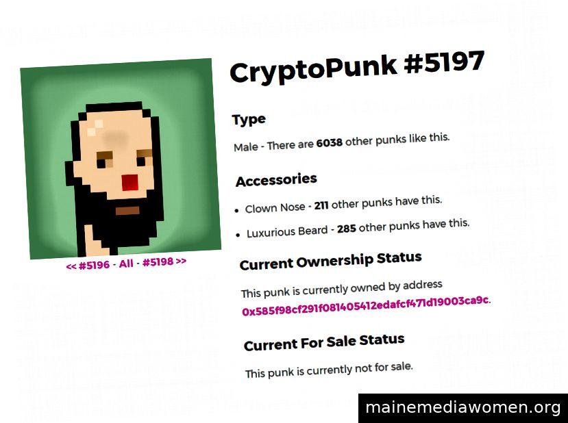 Eine CryptoPunk-Auflistung. Bildquelle: SteemIt