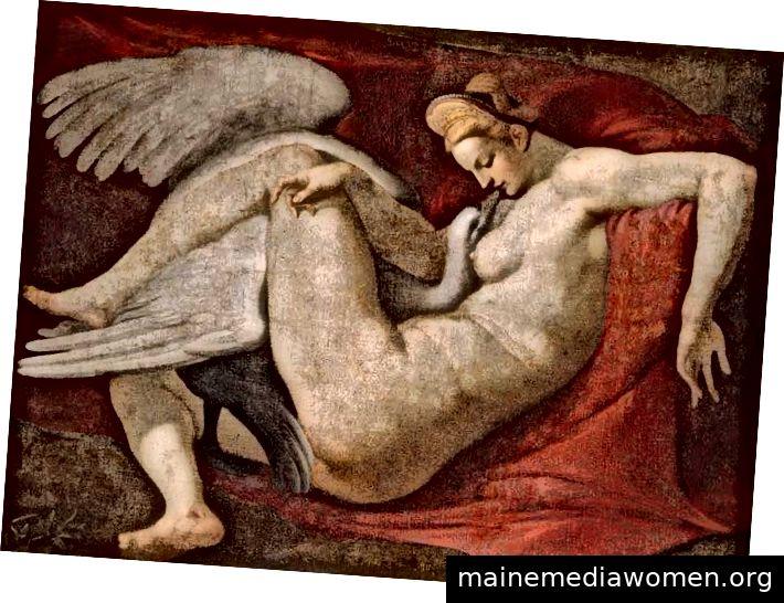 Leda und der Schwan, eine Kopie nach einem verlorenen Gemälde von Michelangelo. National Gallery, London.