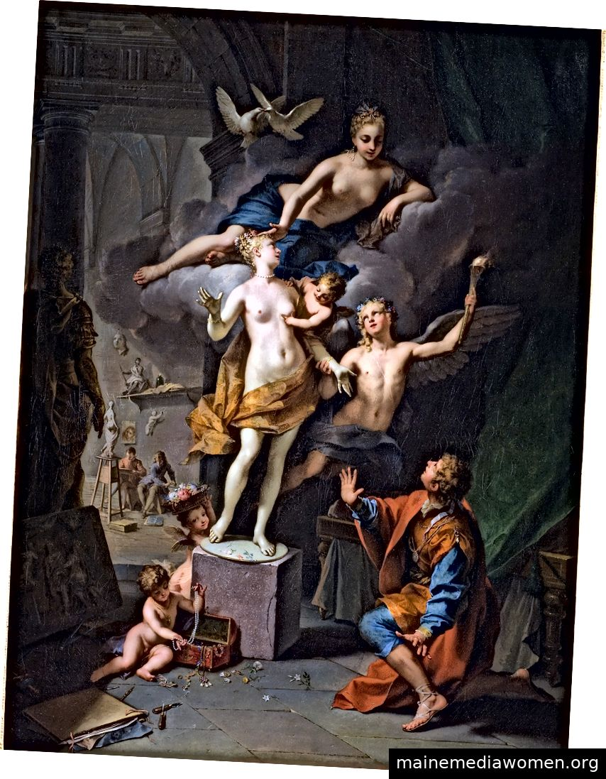 Pygmalion, der seine Statue verehrt (1717), Jean Raoux, der eine der Transformationsgeschichten in Ovids Erzählgedicht Metamorphoses (8 n. Chr.) Darstellt.
