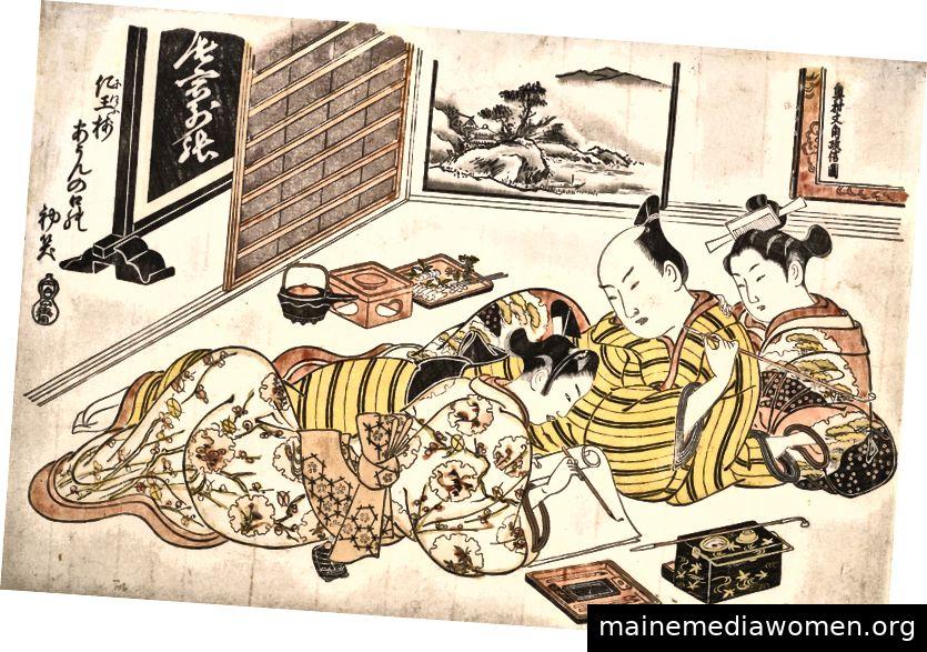 Tafel aus dem Erotikbuch Mounds of Dyed Colors: Ein Musterbuch für das Boudoir (Someiro no yama neya no hinagata), Erster Monat (1736–44), in dem ein Wakashu (homosexueller Jugendlicher) mit einer Kurtisane um die Aufmerksamkeit eines Besuchers konkurriert im Vergnügungsviertel Yoshiwara. Das Metropolitan Museum of Art.