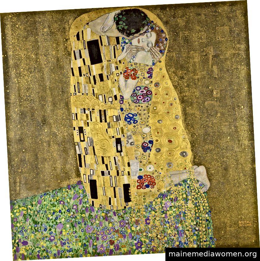 Der Kuss (1907–1908), Gustav Klimt. Österreichische Galerie Belvedere, Wien.