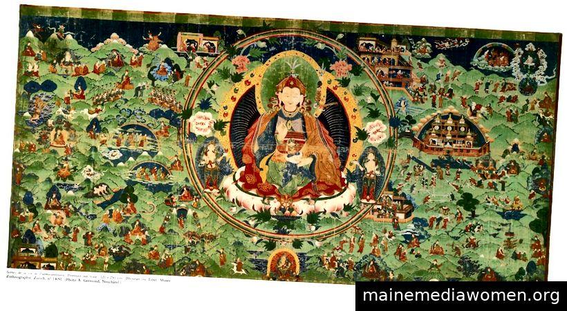 Szenen aus dem Leben von Padmasambhava. Bhutan oder Tibet; Ca. 18. Jahrhundert. Pigmente auf Stoff. | Mit freundlicher Genehmigung des Ethnographischen Museums der Universität Zürich