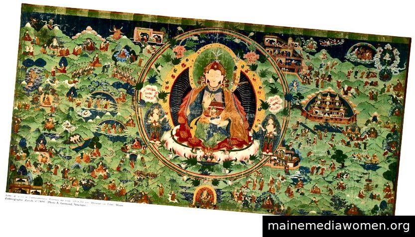Szenen aus dem Leben von Padmasambhava. Bhutan oder Tibet; Ca. 18. Jahrhundert. Pigmente auf Stoff.   Mit freundlicher Genehmigung des Ethnographischen Museums der Universität Zürich