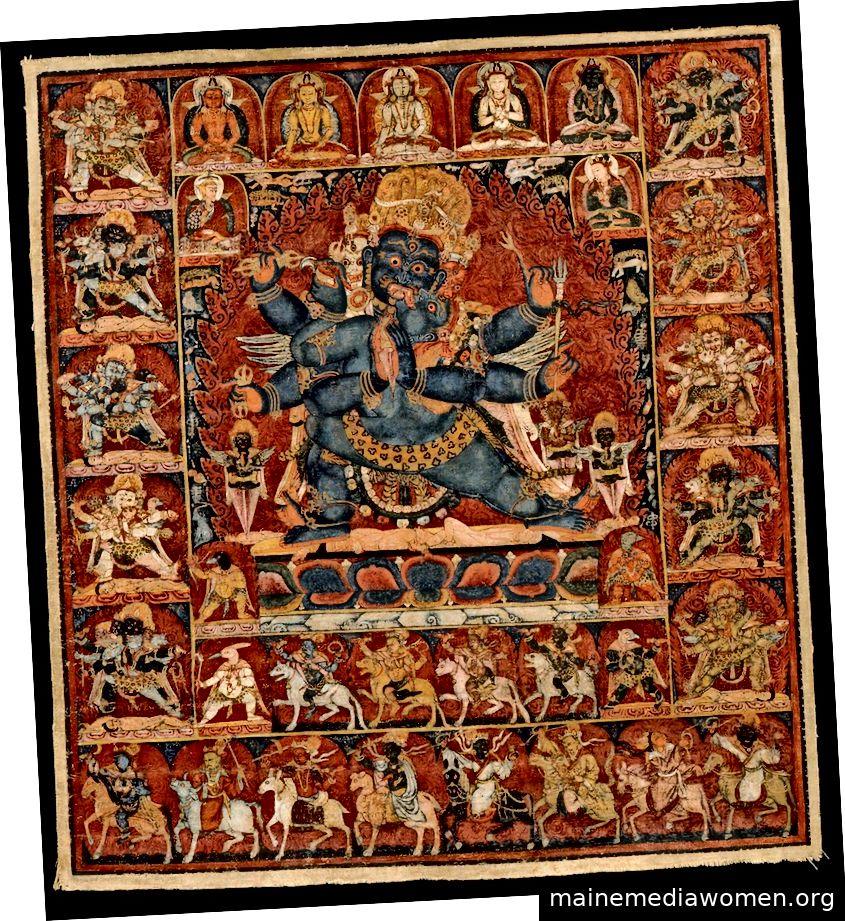 Vajrakilaya der Acht Verlautbarungen. Tibet; Ca. Ende des 13. Jahrhunderts. Pigmente auf Stoff.   Mit freundlicher Genehmigung des Rubin Museum of Art