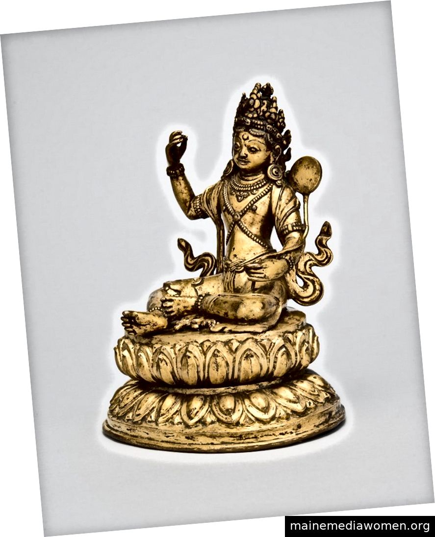 Padmasambhava als Nyima Ozer. Tibet; 18. Jahrhundert. Vergoldete Kupferlegierung.   Mit freundlicher Genehmigung des Rubin Museum of Art