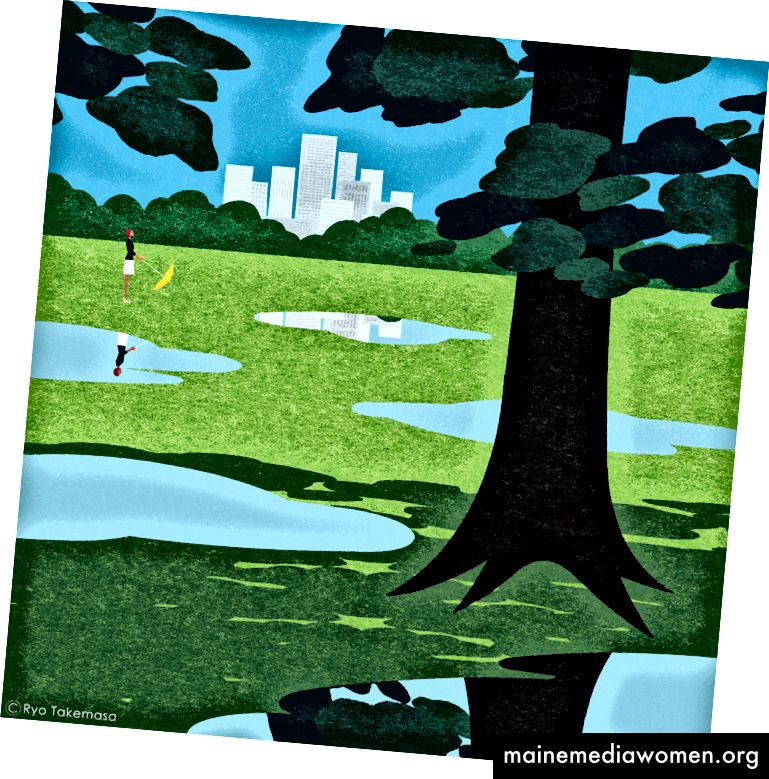 Ryo Takemasa verwendet hier eine wunderschöne Textur: Beachten Sie jedoch, dass das Stadtbild und die Bäume im Hintergrund ziemlich vereinfacht sind, sodass seine Figur mit Hilfe der kleinsten Rot- und Gelbtöne in der Mitte des Bodens sitzen kann
