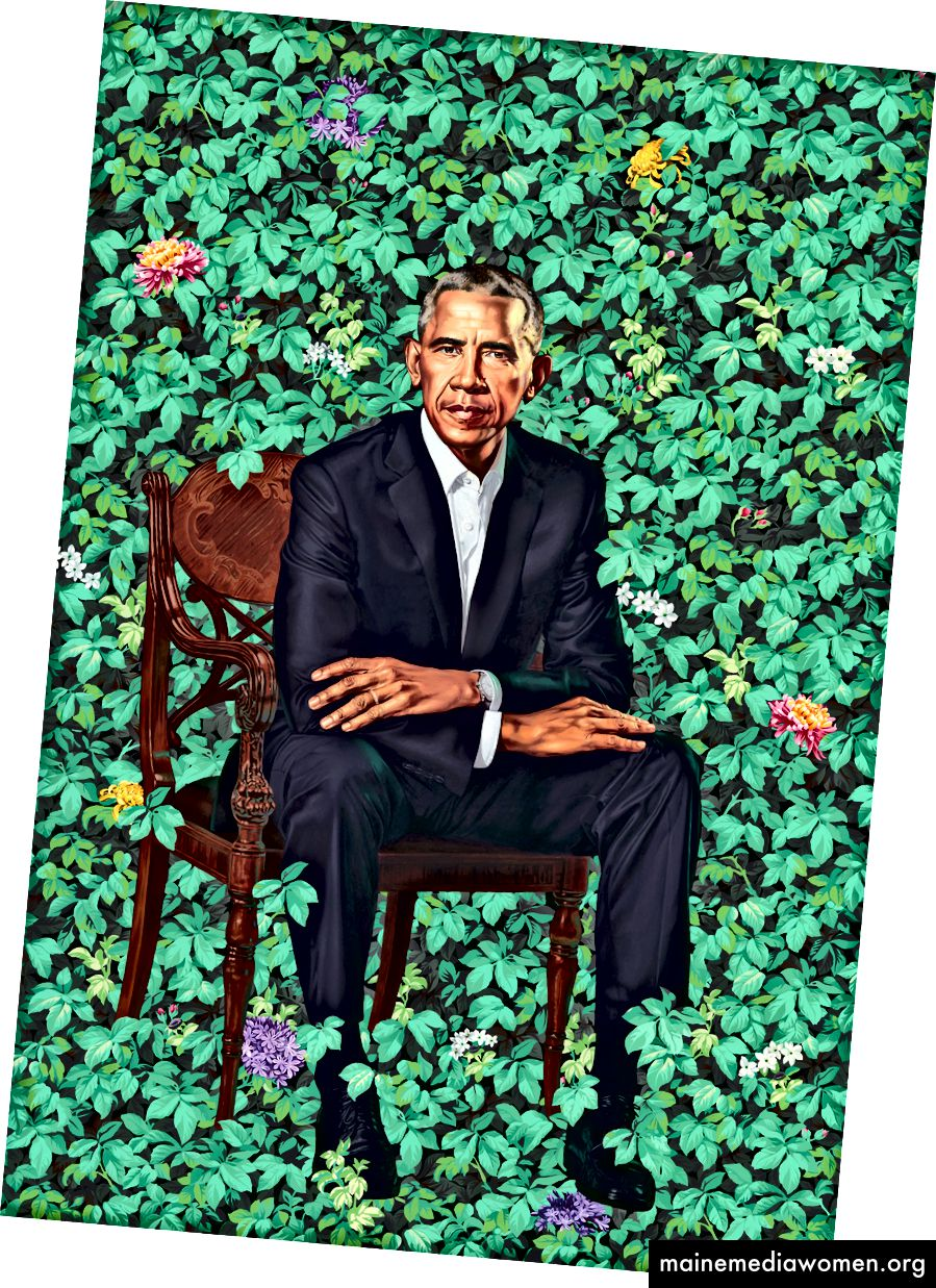 Das Porträt des ehemaligen Präsidenten Barack Obama von Kehinde Wiley, Öl auf Leinwand, wurde in der National Portrait Gallery in Washington enthüllt. Foto: Kehinde Wiley