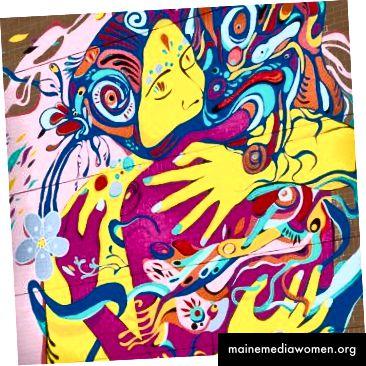 Mémoire du coeur von Julian Palma. 4505 rue Notre-Dame Ouest. Sprühfarbe auf Ziegelstein, 2016