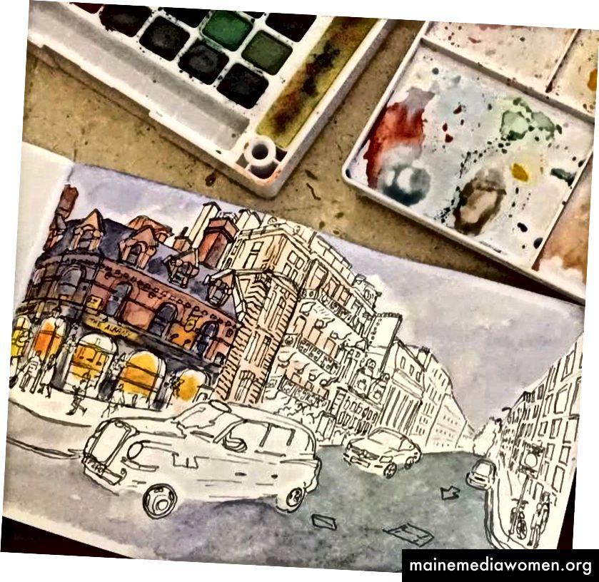 Fortschritt Bild 2: nicht schlecht. Ich glaube, ich fange an, Aquarelle zu graben. Die Moral ist hoch. Vielleicht hänge ich es an meine Wand.