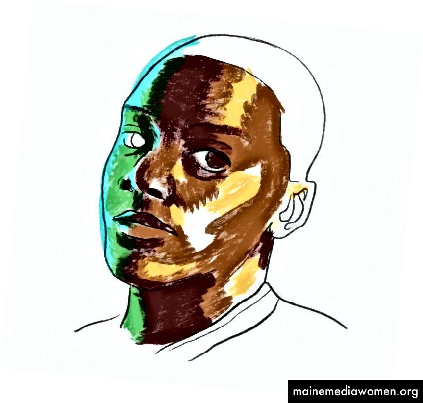 Hier lege ich die Grundfarben für ein Porträt fest (ich liebe dich, Daniel Kaluuya). Beachten Sie, dass die Qualität oder Auflösung meines Screenshots nicht hoch sein muss. Ich sehe, wenn ich mich nicht mehr auf den