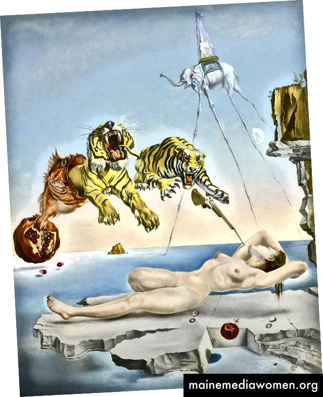 Traum vom Flug einer Biene um einen Granatapfel eine Sekunde vor dem Aufwachen, Salvador Dalí, 1944, Öl auf Holz, 51 x 41 cm, Museo Nacional Thyssen-Bornemisza, Madrid