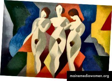 الشكل 1. رينيه ماغريت ، ثلاث نساء ، 1922 ، زيت على قماش. أبعاد غير معروفة. (لاكما ، 2017)