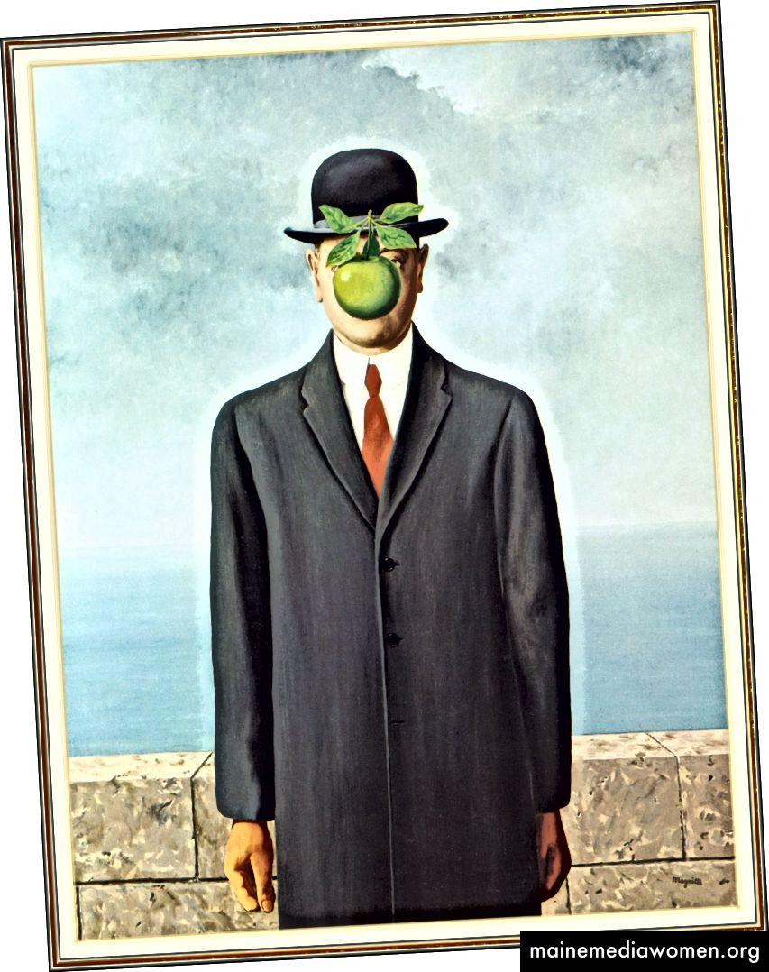 الشكل 4. رينيه ماغريت ، ابن الإنسان ، 1964 ، زيت على قماش ، 45 2/3