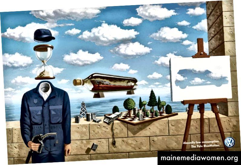 الشكل 8 DDB ، إعلان طباعة فولكس واجن - Magritte ، 2008 ، فن رقمي ، أبعاد غير معروفة. (العالم ، 2008)