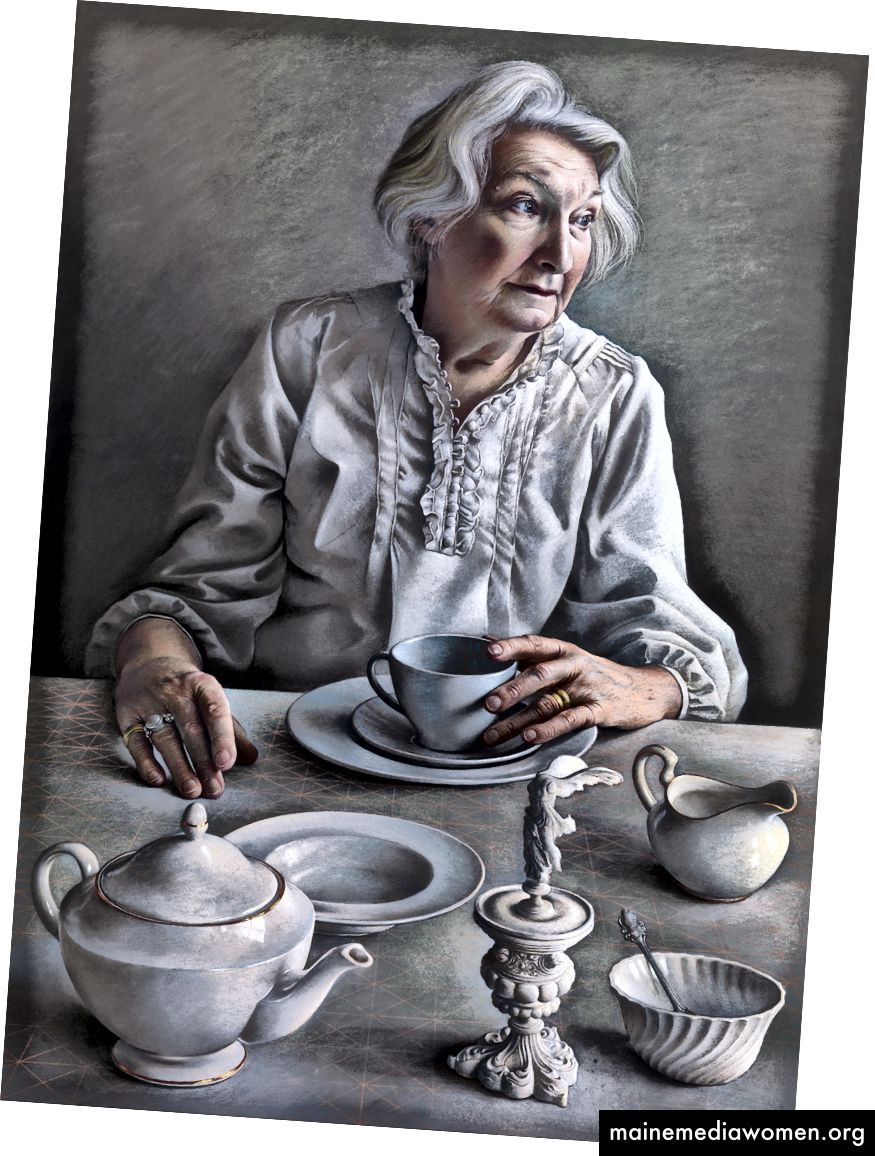 """Pastellstudie für """"Ein Engel an meinem Tisch"""", Pastell auf Papier 80 x 55 cm"""