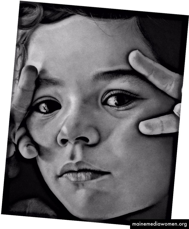 La mirada de Júlia, Kohle- und Graphitstift auf Papier, 60x 80 cm